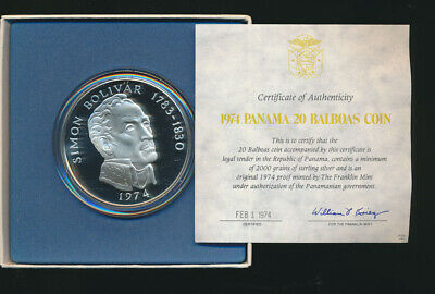 Panama: 1974 20 Balboas 127g Large (almost 4oz) Silver Coin Proof, Cased & Cert