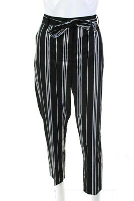 Vince Camuto Womens Mid-Rise Striped Belted Trousers Pants Black White Size 14P
