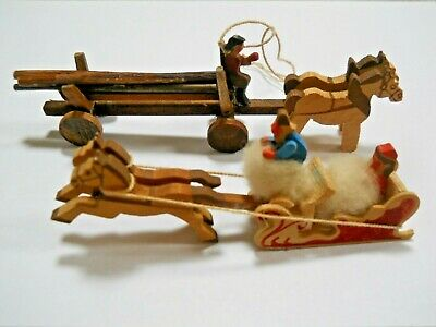 2 Rare Vintage Hand Carved Wooden Miniatures / Sleigh / Log Wagon / Horses