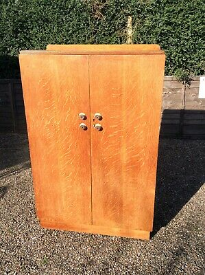 Oak Wardrobe Gents Antique Limed Wardrobe Stunning Fitted Original Rare