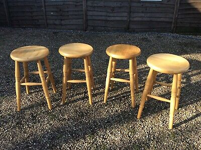 Pine Stools Set Of 4 Victorian Style Kitchen Stools Natural Waxed