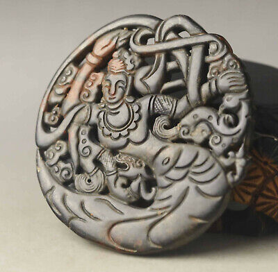 Old Chinese natural jade hand-carved buddha guanyin pendant