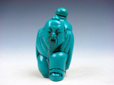 Turquoise Glazed Ancient Immortal Carrying Bottle Carved Snuff Bottle #03272002