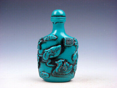 Turquoise Glazed Swans & Lotus Themes Carved Snuff Bottle #03272004