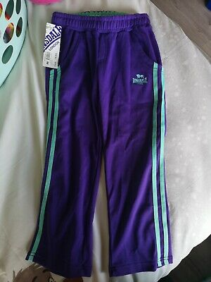 Girls Lonsdale Track Bottoms Age 7-8 Purple & Turquoise Bnwt New