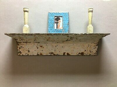 Architectural Destressed Embossed Reclaimed Tin Mantle Shelf Home Decor 303-BE