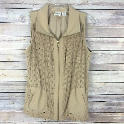 Zenergy by Chico's Women's Vest Jacket Size 0 Small Brown Sleeveless Perforated