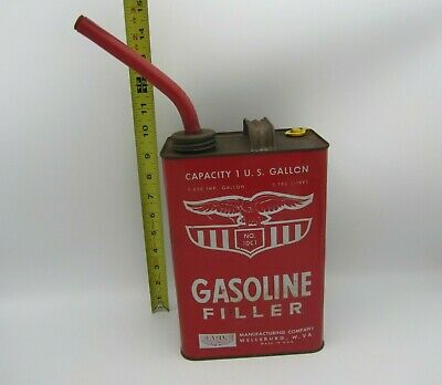 Vtg Metal Vented Gasoline Can W Spout Eagle Mfg 1001 1 Gallon Gas Oil Old Style