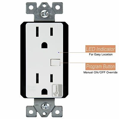 ZW15R-W Decorator Grouding Duplex Receptacle 15A 125V, Z-Wave, White