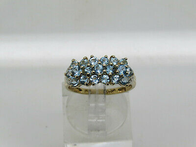 10k Yellow Gold Round Light Blue Topaz Diamond CHIP Faceted Accent Ring Sz 7.25