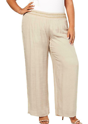 JM Collection Women's 1X Beige Metallic Trim Casual Wide Leg Pants NEW #37