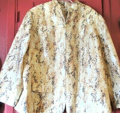 New ALFRED DUNNER WOMAN Pretty Beige Print Zip Up Lined Jacket Top 2X-3X