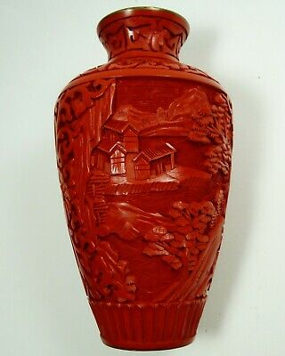 Chinese Cinnabar Hand Carved Red Vase Blue Enamel Interior China