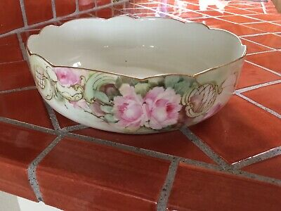 Beautiful Antique Scalloped Gold Green And Pink Hand painted Serving Bowl France