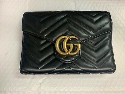Authentic GUCCI GG Marmont Chevron Quilted Leather Flap Wallet NO CHAIN