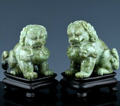 Fine Quality Chinese White & Green Jade Jadeite Buddha Buddhist Fu Lion Figures