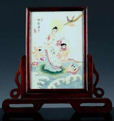 Chinese Famille Rose Enamel Immortal Guanyin Table Screen Plaque Stand Signed
