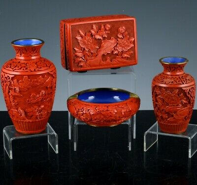 Estate Lot Chinese Carved Cinnabar Lacquer Desk Box Ashtray Landscape Vases