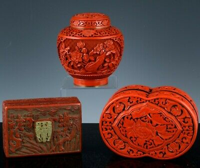 Estate Lot Chinese Cinnabar Lacquer Lidded Jar Desk Table Jade Inlaid Box