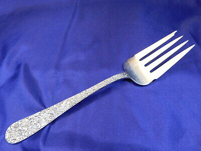 S. Kirk & Son Repousse Sterling Silver Cold Meat Serving Fork Medium - Mono
