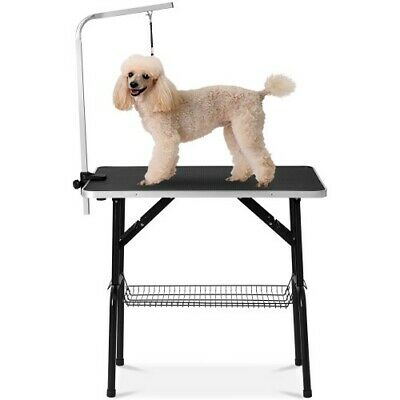 """Small Size 32"""" Foldable Pet Grooming Table with Mesh Tray and Adjustable Arm"""