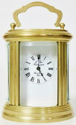 Luxury Vintage Miniature Brass & Bevelled Glass L'epee 8 Day Oval Carriage Clock