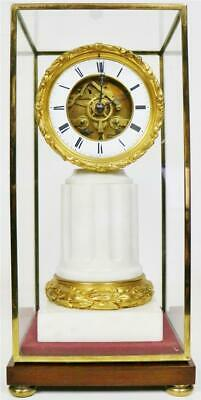 Sublime Antique French Empire 8 Day White Marble Pillar Mantle Clock Glass Case