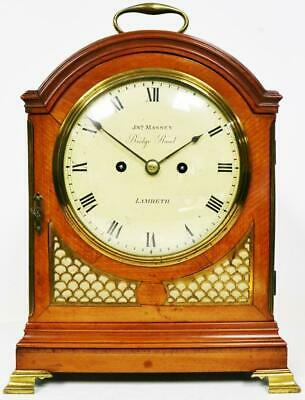 Rare Antique English 18thC Satinwood Twin Fusee Verge Escapement Bracket Clock