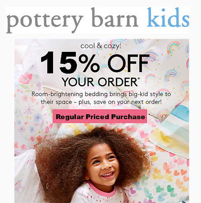 15% Off POTTERY BARN KIDS Entire Order Incl Furniture (exp. 4/30/20) 10 15