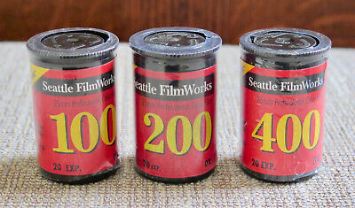 x3 Roll Seattle FilmWorks 35mm ISO 100,200,400 color print film NEW, SEALED