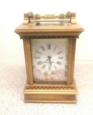 c.1890 French Engraved Gilt, Miniature  Carriage Clock with Enamel...