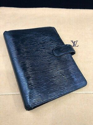 LV498 LOUIS VUITTON Epi Black Leather MM Agenda Cover Organizer Planner