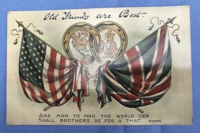 National Series postcard - US - UK 'Old Friends Are Best' WW1 presumed