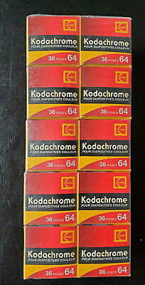 10 Rolls Expired 35mm film lot - Kodachrome 36 exp 64 ISO Best By 2/2005 NOS