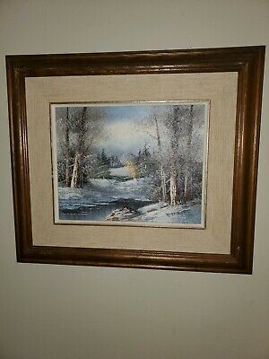 Vintage Framed Signed Oil Painting of Winter Landscape Scene of trees and stream