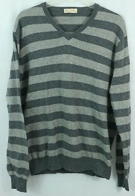 J. CREW men's M Cashmere Blend Sweater V-Neck Striped Pullover VTG style Shirt
