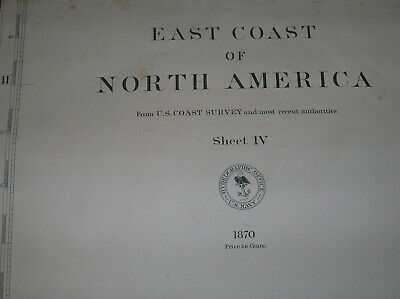 EAST COAST of NORTH AMERICA U.S.COAST SURVEY nautical chart cloth backed 1870