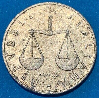 1952 Italy 1 Lire Weighing Scale Coin RARE
