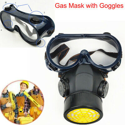 Emergency Respirator Mask Chemical Gas Mask with Goggles Dual & 2 Protection Set