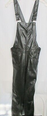H&M Black Faux Leather Overalls (Pre-owned) Size 4