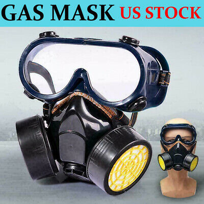 Emergency Survival Safety Respiratory Gas Face Mask Goggles Dual & 2 Protection