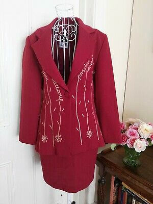 Vintage Cerise Skirt & Jacket Suit Made In France By Bestini Wool Blend Fabric