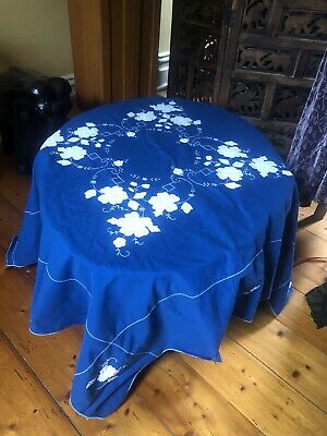 Vintage Blue square tablecloth with white appliqued flowers & embroidery