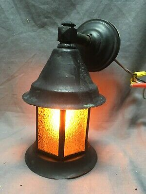 Antique Copper Arts Crafts Mission Porch Sconce Light Fixture Old Vtg 245-20E