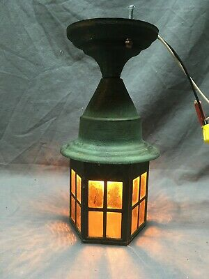 Antique Copper Arts Crafts Porch Ceiling Light Fixture Amber Glass Vtg 248-20E