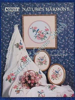 Cross Stitch Pattern Natures Harmony Floral Bird Afghan Blue Wren Pink Flowers