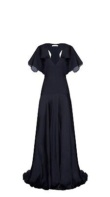 Bianca Spender Dark Navy Satin Evening Maxi Dress Size  12