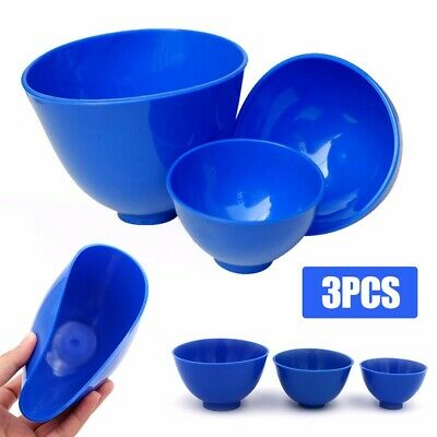 3x Blue Rubber Dental Nonstick Impression Flexible Mixing Medical Bowl Kits