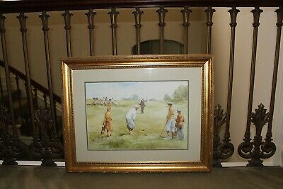 COUNTRY HOUSE SALE Large Gold Gilt Framed Golf Picture,Print,Antique Style,Club