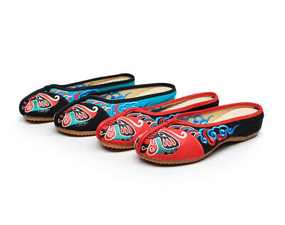 Chinese Retro Disc Buckle Embroidery Casual Cotton Linen Slippers Ladies Lazy Sz